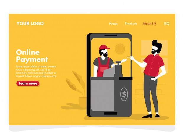 Online payment illustration for landing page