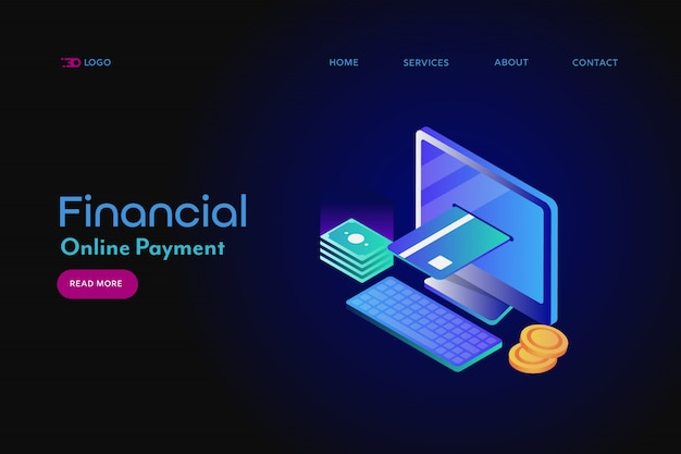 Online payment isometric banner