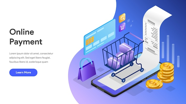 Online payment isometric concept for landing page, homepage, website
