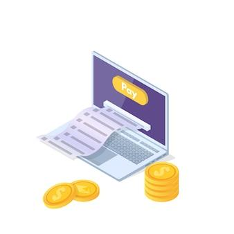 Online payment isometric concept  with cash receipt. mobile purse. vector illustration