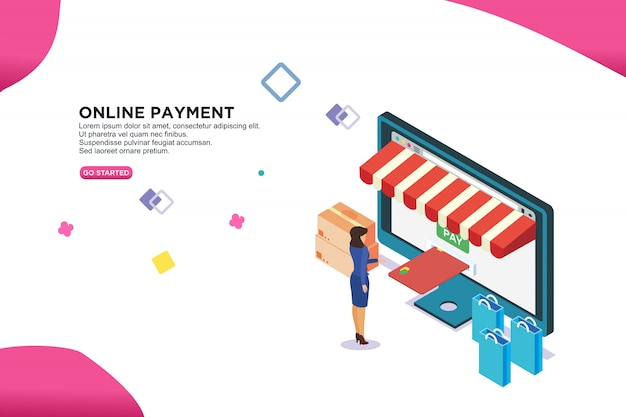 Online payment isometric design concept