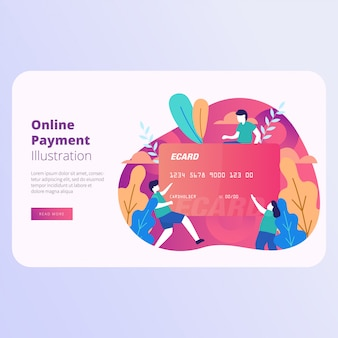 Online payment landing page vector illustration