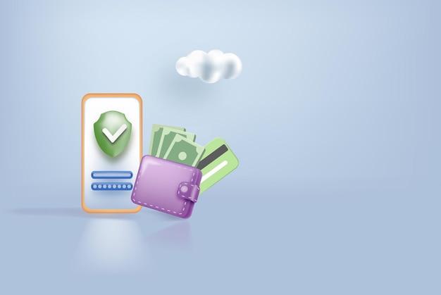 온라인 지불 방문 페이지 웹 사이트 디자인 템플릿 d 스마트폰 은행 카드 수표 방패와 현금