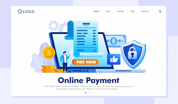 Online payment landing page website illustration vector