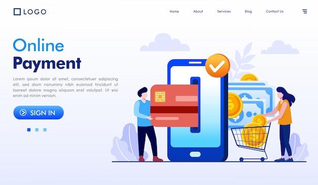 Online payment landing page website illustration vector