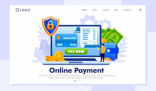 Online payment landing page website template