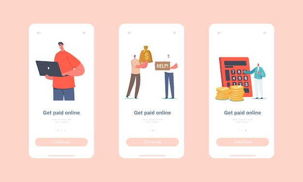 Шаблон встроенного экрана для страницы мобильного приложения онлайн-платежей. персонажи платят безналично с помощью карт в интернет-магазинах, современные технологии и концепция безналичной оплаты. мультфильм люди векторные иллюстрации
