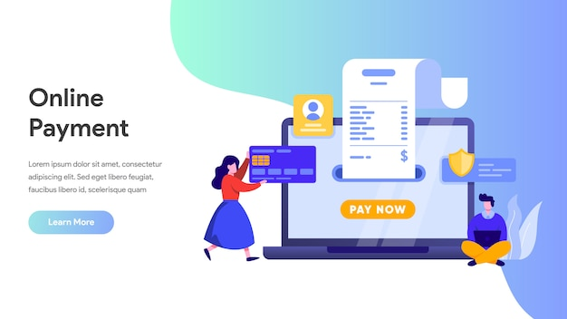 Online payment or money transfer concept for landing page, homepage, website