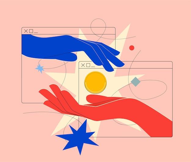 Онлайн-оплата онлайн-денег, перевода криптовалюты или обмена валюты, когда две руки, выходящие из браузера, передают друг другу золотую монету