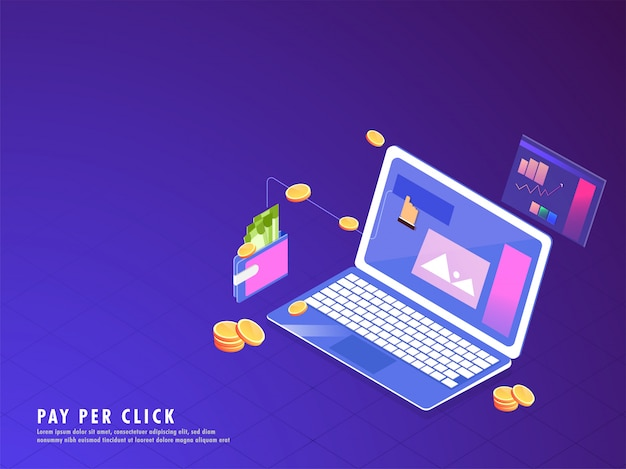 Online payment or pay per click concept.