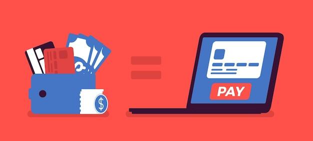 Сервис покупки онлайн-платежей. кошелек для мобильных денег, счет в банке или кредитной карте, компьютерные сети, интернет, оплата товаров, услуг. векторная иллюстрация
