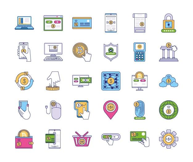 Набор иконок, связанных с онлайн-платежами