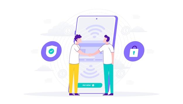 スマートフォンによるオンライン決済セキュリティ。二人の握手再販業者の支払い。フラットイラスト