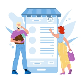 Online payment service app using people vector. internet payment and shopping young boy and girl users with smartphone application. characters mobile pay technology flat cartoon illustration