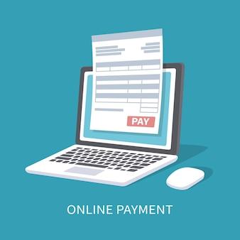 온라인 결제 서비스입니다. 지불 버튼으로 노트북 화면에 문서 양식. 고립 된 그림입니다.