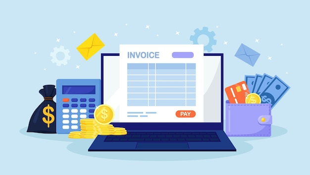 Online payment service. invoice form on laptop screen with a pay button. banking financial account, bookkeeping, accounting. financial transaction with internet. wallet with credit card, money bag