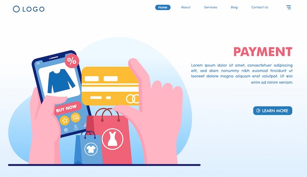 Online payment shopping landing page in flat style