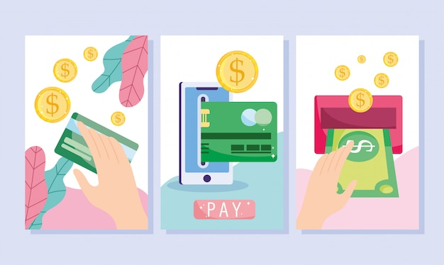 온라인 결제, 스마트 폰 은행 카드 송금, 전자 상거래 시장 쇼핑, 모바일 앱 배너