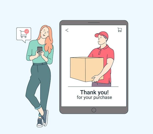 オンライン決済、テクノロジー、ショッピング、携帯電話のコンセプト。非接触型電子決済ワイヤレス技術でスマートフォンショッピングをしている笑顔の女性。