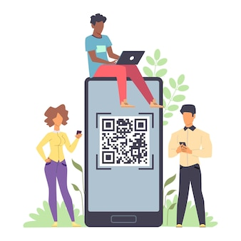 Online payment. tiny men and woman standing with phones and laptop in hands and huge smartphone with qr code on device screen for scanning, template for money transfer vector flat illustration