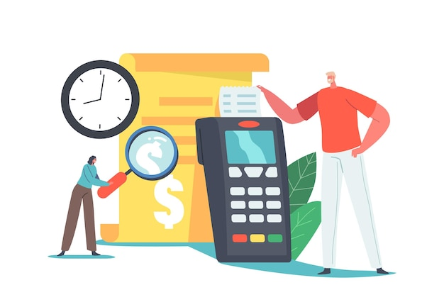 Online payment transaction, pay history concept. man buyer character take bill at huge pos terminal in supermarket. purchases in internet with mobile phone report. cartoon people vector illustration
