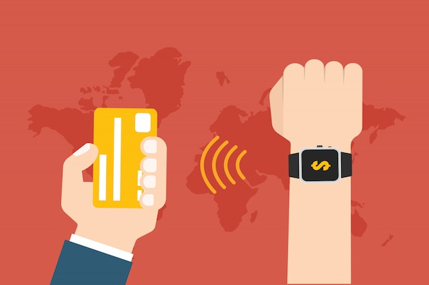 Online payment use smartwatch transfer concept.