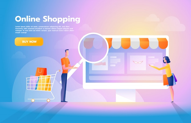 Online payment using application concept with couple shopping on smartphone. purchases on internet. commerce advertising illustration.