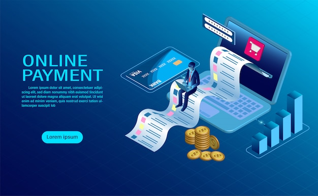 Online payment with computer. protection of money in laptop transactions. modern flat design isometric