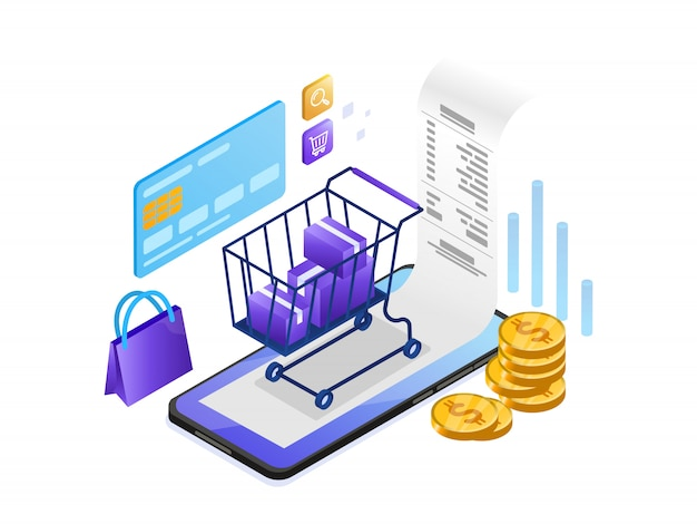 Online payment  with mobile phone isometric