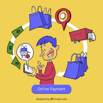 Online payment, yellow background