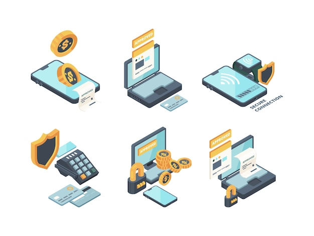 Online payments. digital banking computer online orders financed connection smartphone wallet and cards vector isometric icons. illustration smartphone payment, isometric web wallet banking