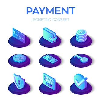 Online payments isons set. 3d isometric mobile payments icons.