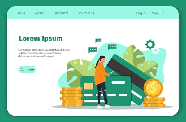 Online payments. landing page template of cryptocurrency exchange.