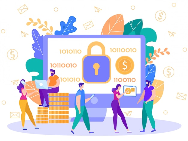 Online payments security technology flat vector