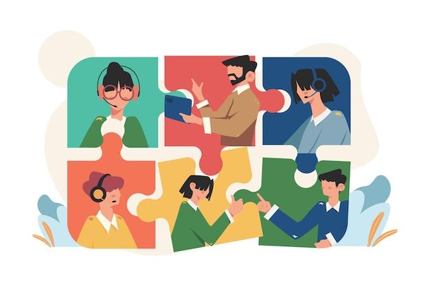 소셜 퍼즐 요소를 연결하는 온라인 사람들