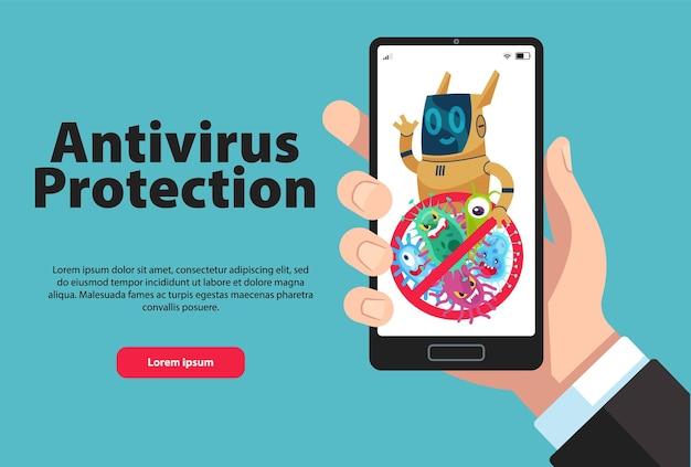 オンライン個人電話データ保護。電話データの安全性のためのファイアウォールまたはウイルス対策ソフトウェア。スマートフォンを持っている手。コンピュータウイルスとガジェット画面の警告サイン。フラットベクトル図