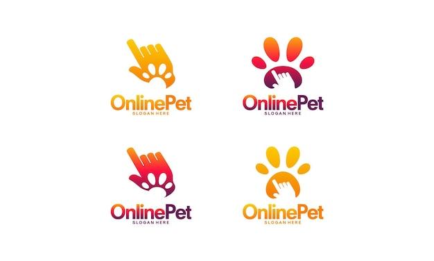 온라인 애완 동물 로고 디자인 개념 벡터, 온라인 동물 로고 템플릿 벡터 일러스트 레이 션