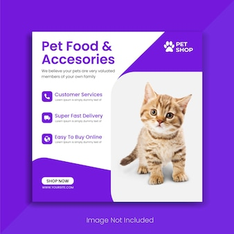 Online pet shop social media post instagram banner promo template premium vector