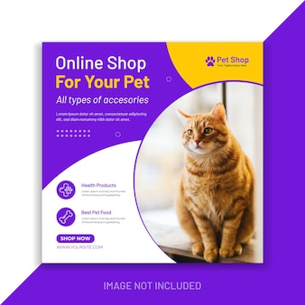 Online pet shop social media post instagram promo banner template premium vector design