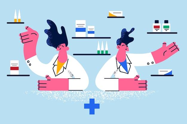 온라인 약국 및 약물 개념 선택