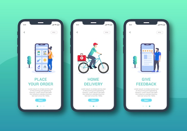 Online pharmacy app set of onboarding screen mobile ui