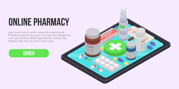 Online pharmacy concept banner, isometric style