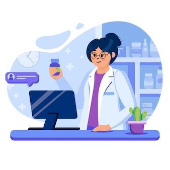 평면 디자인의 문자로 온라인 약국 개념 그림