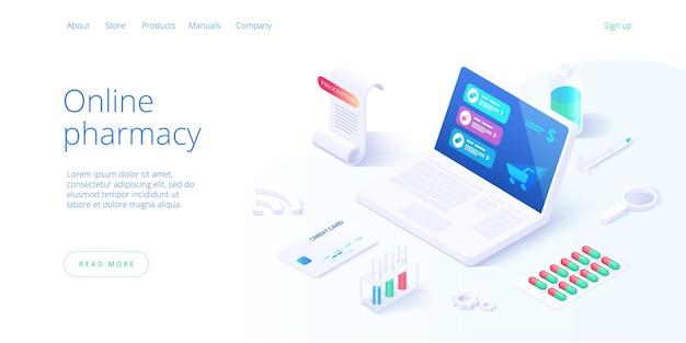 Online pharmacy or drug store concept in isometric illustration