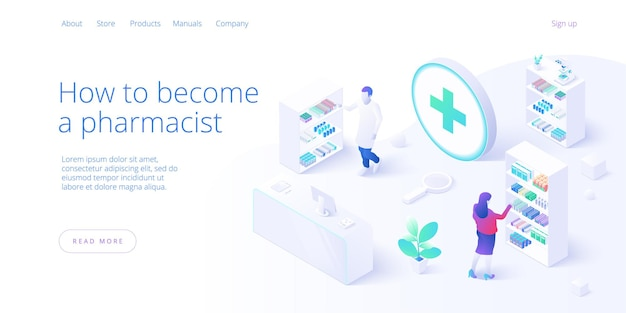 Online pharmacy or drug store concept in isometric . internet shopping or order with laptop. background with medicines and equipment. web banner layout template.