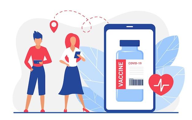 Online pharmacy drugstore app for ordering coronavirus vaccine with cartoon people