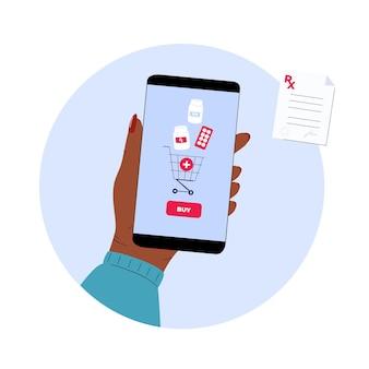 Интернет-аптека. рука держит смартфон, чтобы купить таблетки. мобильный сервис для покупки лекарств.