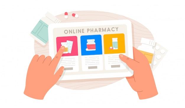 Интернет-аптека. человеческие руки держат планшет и покупают таблетки