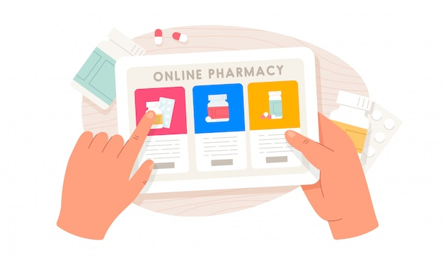 Online pharmacy. human hands holding tablet and buying pills