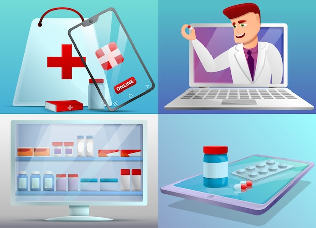 Online pharmacy illustration set on cartoon style